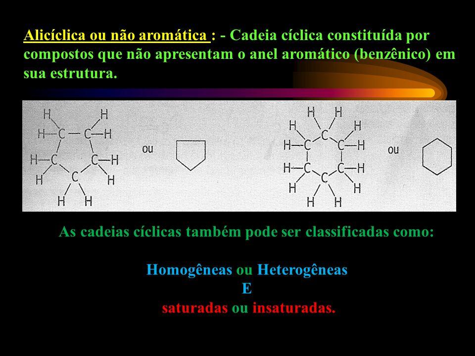 As cadeias cíclicas também pode ser classificadas como: