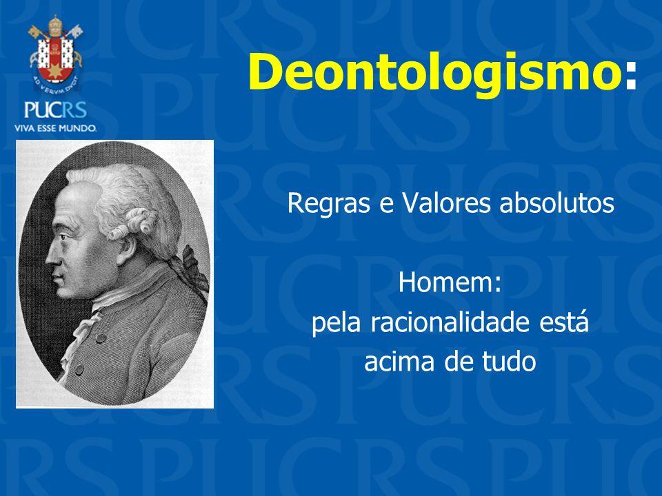 Deontologismo: Regras e Valores absolutos Homem: