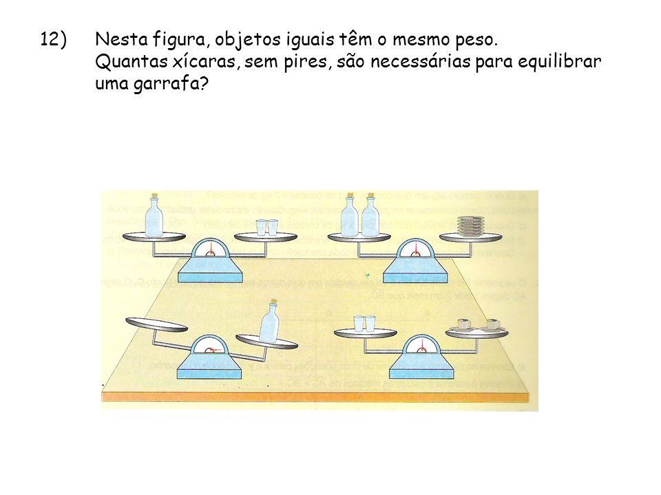 12). Nesta figura, objetos iguais têm o mesmo peso