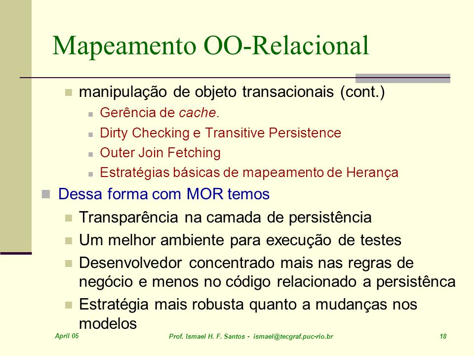 Mapeamento OO-Relacional