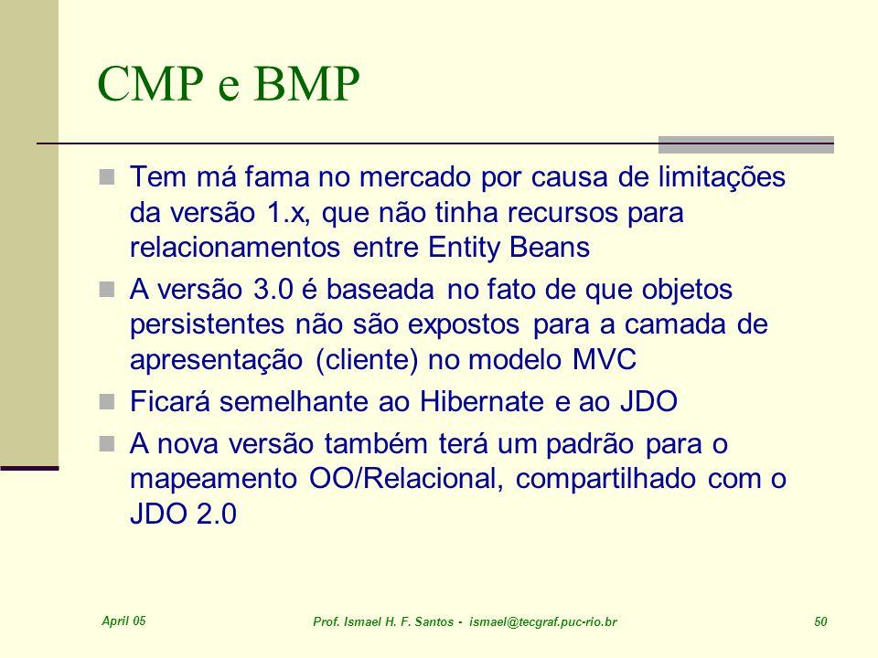 CMP e BMP Tem má fama no mercado por causa de limitações da versão 1.x, que não tinha recursos para relacionamentos entre Entity Beans.