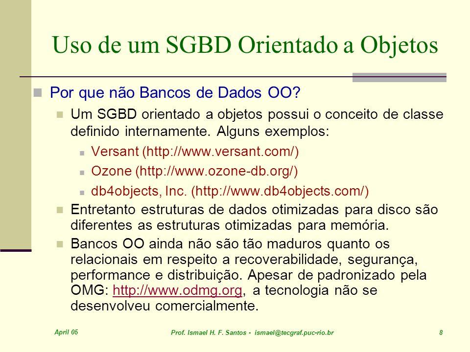 Uso de um SGBD Orientado a Objetos