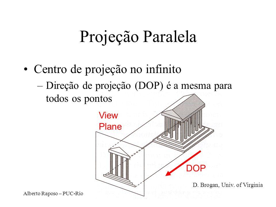Projeção Paralela Centro de projeção no infinito