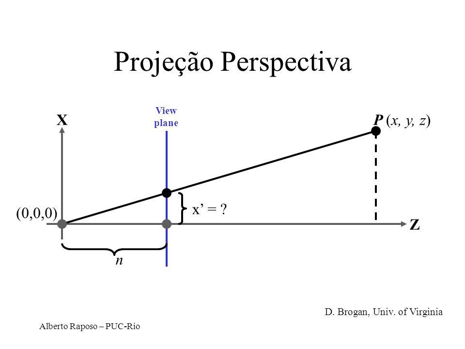 Projeção Perspectiva P (x, y, z) X Z (0,0,0) x' = n View plane