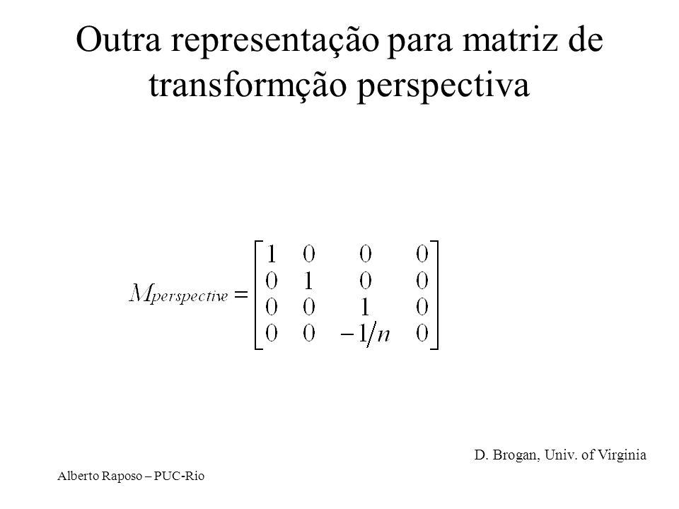 Outra representação para matriz de transformção perspectiva