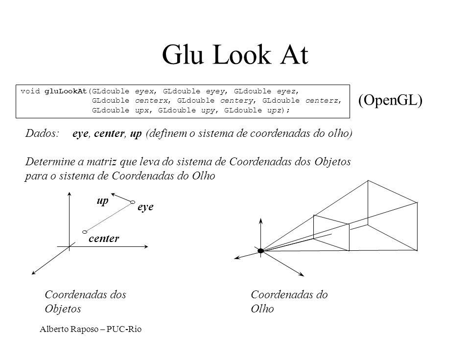 Glu Look At void gluLookAt(GLdouble eyex, GLdouble eyey, GLdouble eyez, GLdouble centerx, GLdouble centery, GLdouble centerz,