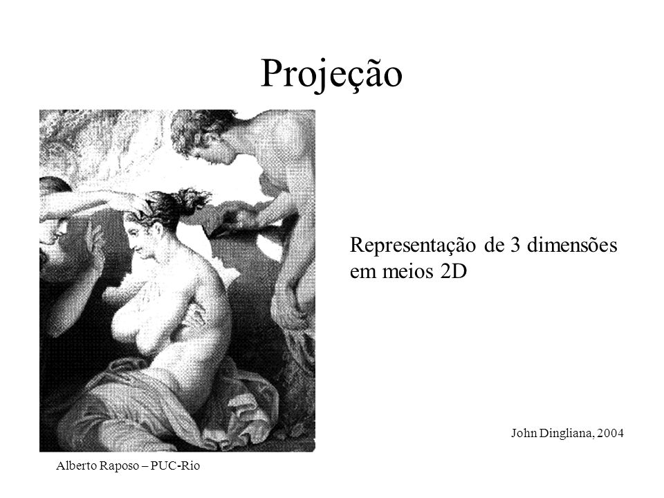 Projeção Representação de 3 dimensões em meios 2D John Dingliana, 2004