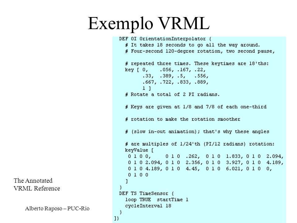 Exemplo VRML The Annotated VRML Reference Alberto Raposo – PUC-Rio