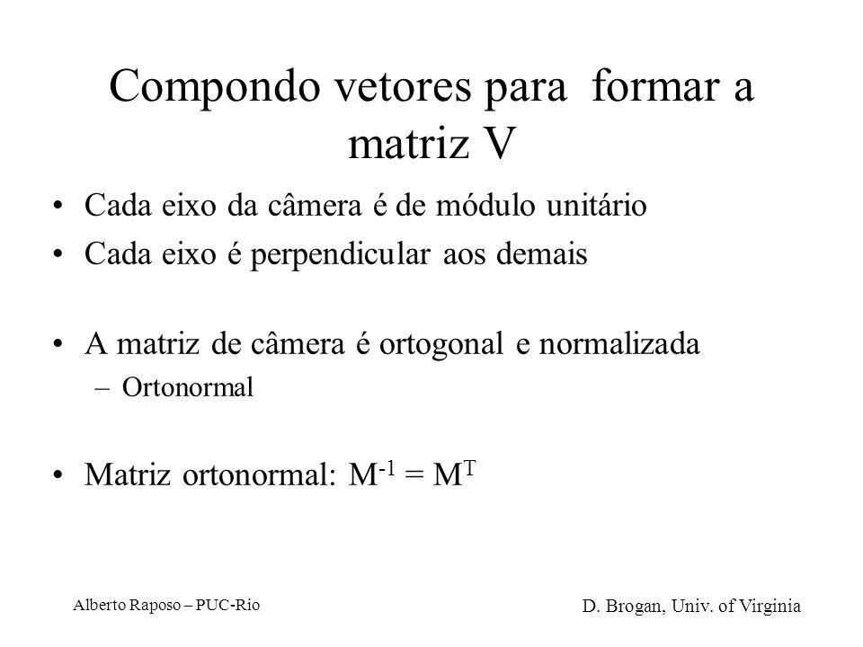 Compondo vetores para formar a matriz V