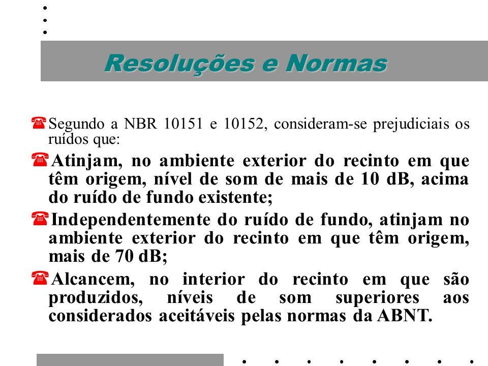 Resoluções e NormasSegundo a NBR 10151 e 10152, consideram-se prejudiciais os ruídos que: