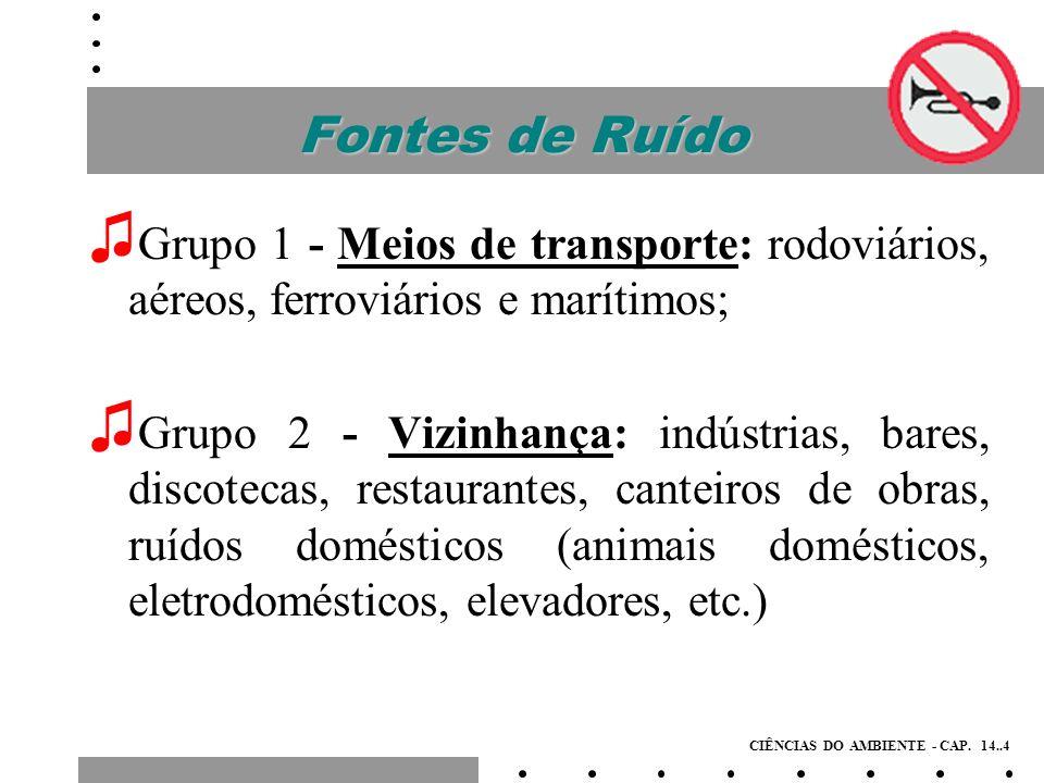Fontes de RuídoGrupo 1 - Meios de transporte: rodoviários, aéreos, ferroviários e marítimos;
