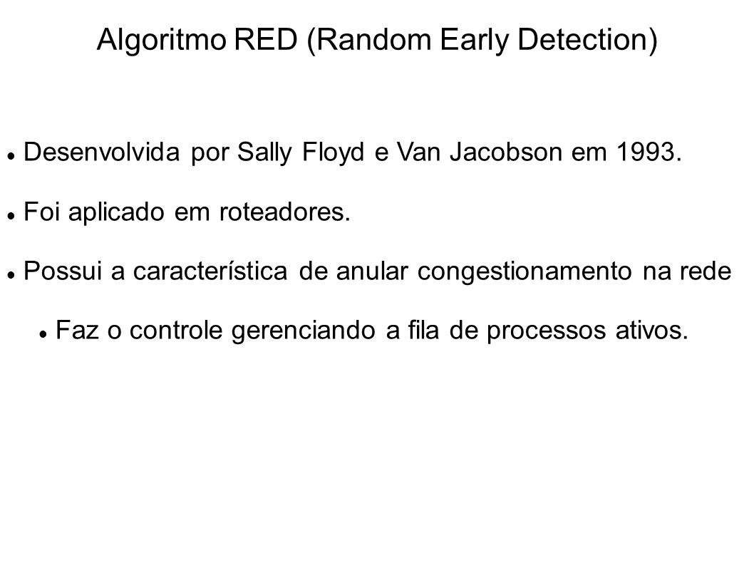 Algoritmo RED (Random Early Detection)