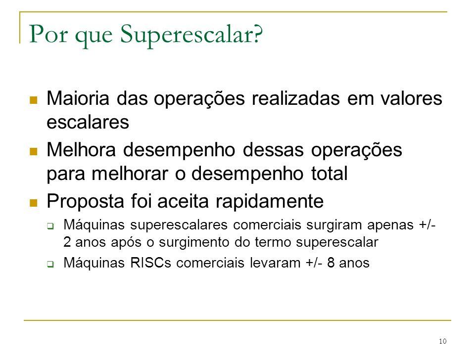 Por que Superescalar Maioria das operações realizadas em valores escalares. Melhora desempenho dessas operações para melhorar o desempenho total.
