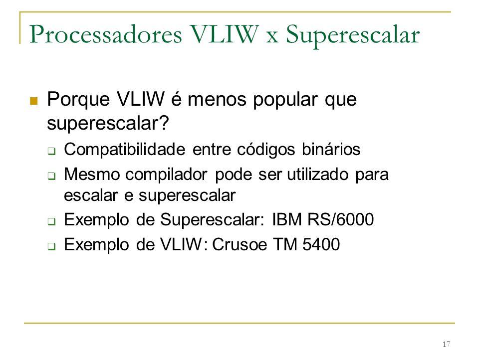 Processadores VLIW x Superescalar