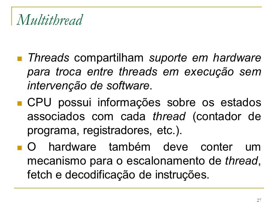 MultithreadThreads compartilham suporte em hardware para troca entre threads em execução sem intervenção de software.