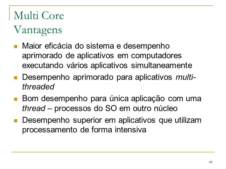 Multi Core Vantagens Maior eficácia do sistema e desempenho aprimorado de aplicativos em computadores executando vários aplicativos simultaneamente.