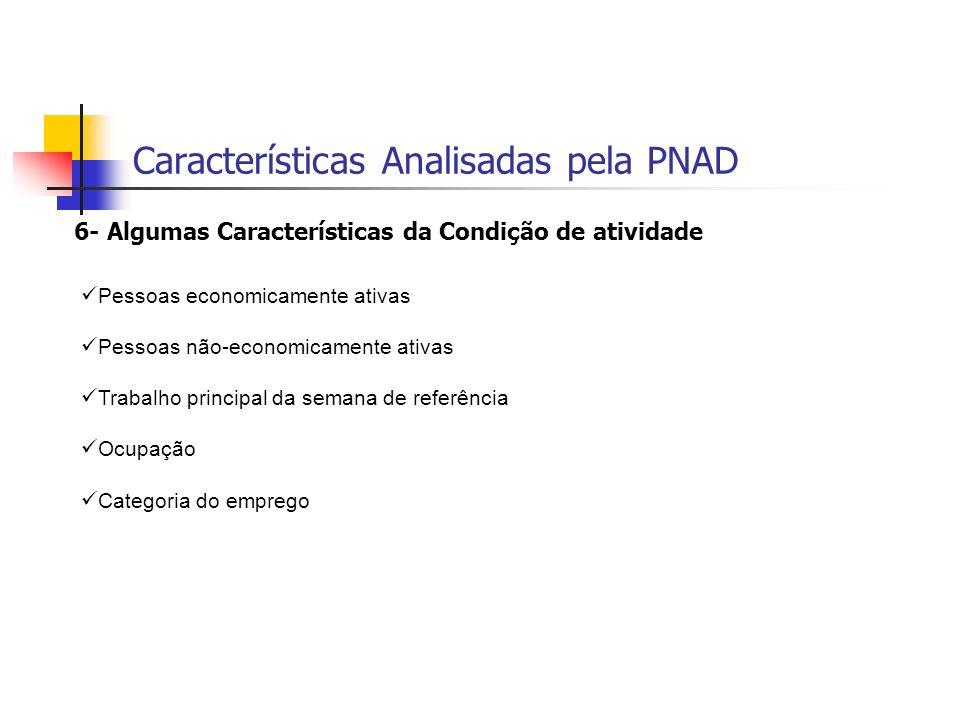 Características Analisadas pela PNAD
