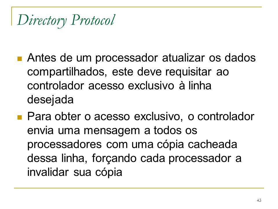 Directory Protocol Antes de um processador atualizar os dados compartilhados, este deve requisitar ao controlador acesso exclusivo à linha desejada.