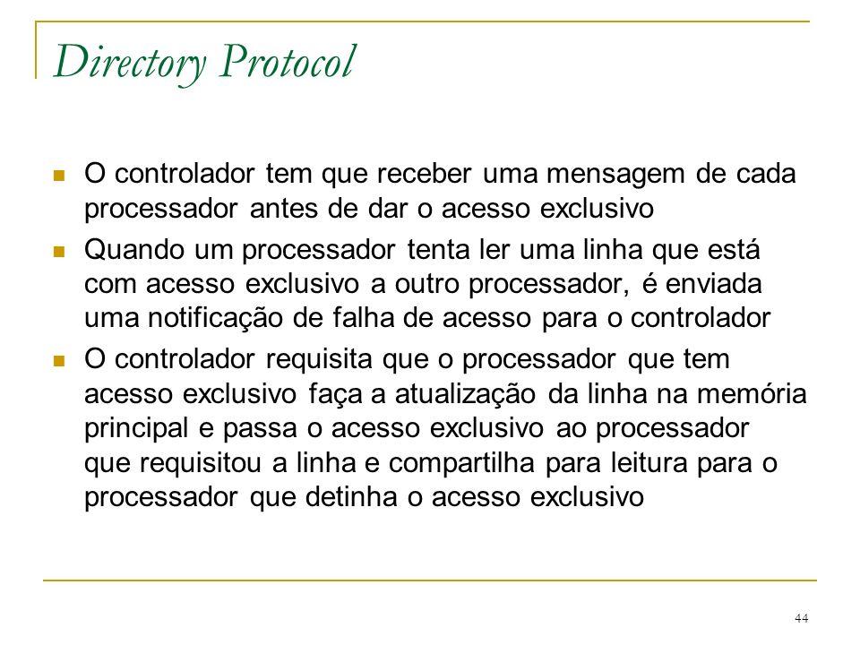 Directory Protocol O controlador tem que receber uma mensagem de cada processador antes de dar o acesso exclusivo.