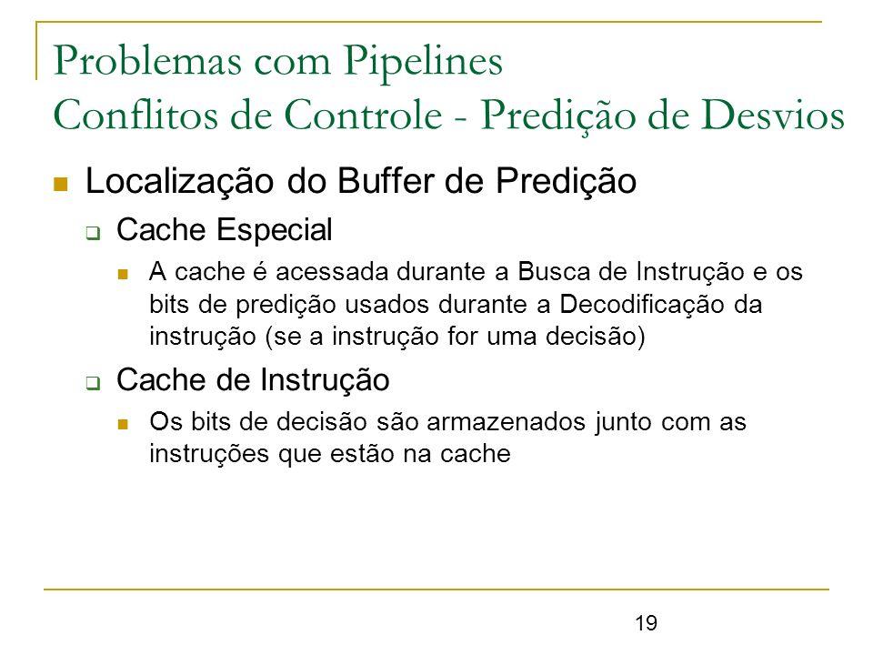 Problemas com Pipelines Conflitos de Controle - Predição de Desvios
