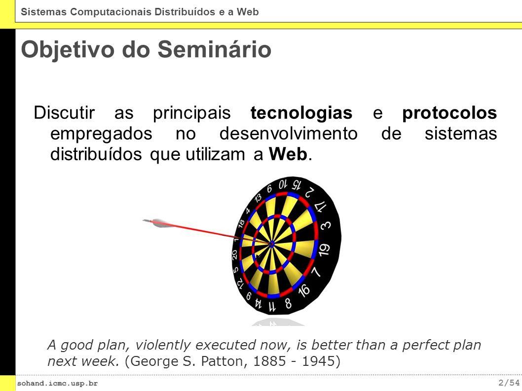 Objetivo do Seminário Discutir as principais tecnologias e protocolos empregados no desenvolvimento de sistemas distribuídos que utilizam a Web.