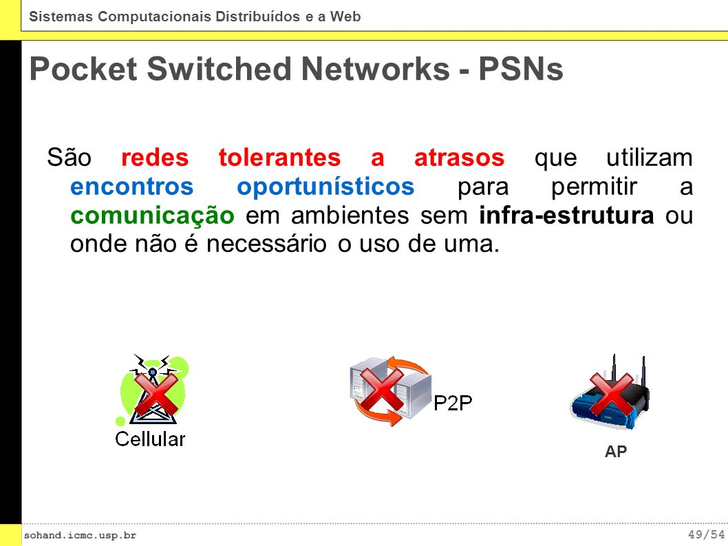 Pocket Switched Networks - PSNs