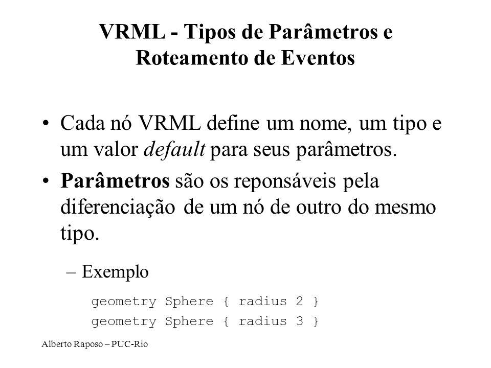 VRML - Tipos de Parâmetros e Roteamento de Eventos