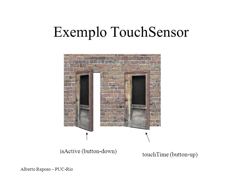 Exemplo TouchSensor isActive (button-down) touchTime (button-up)