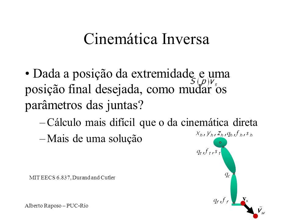 Cinemática Inversa Dada a posição da extremidade e uma posição final desejada, como mudar os parâmetros das juntas
