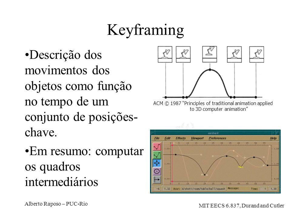 Keyframing Descrição dos movimentos dos objetos como função no tempo de um conjunto de posições-chave.