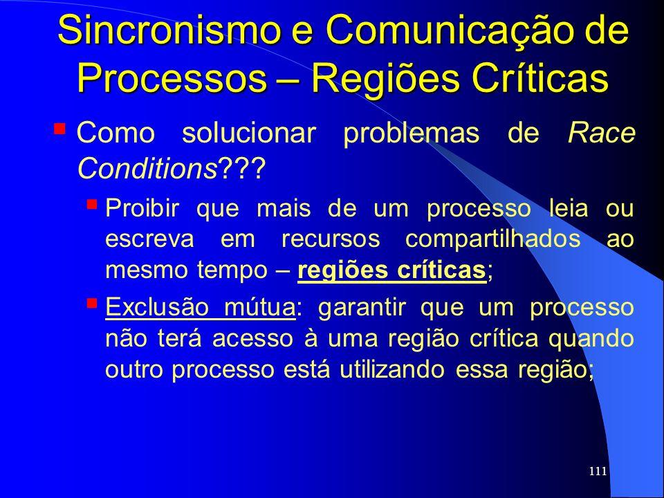 Sincronismo e Comunicação de Processos – Regiões Críticas