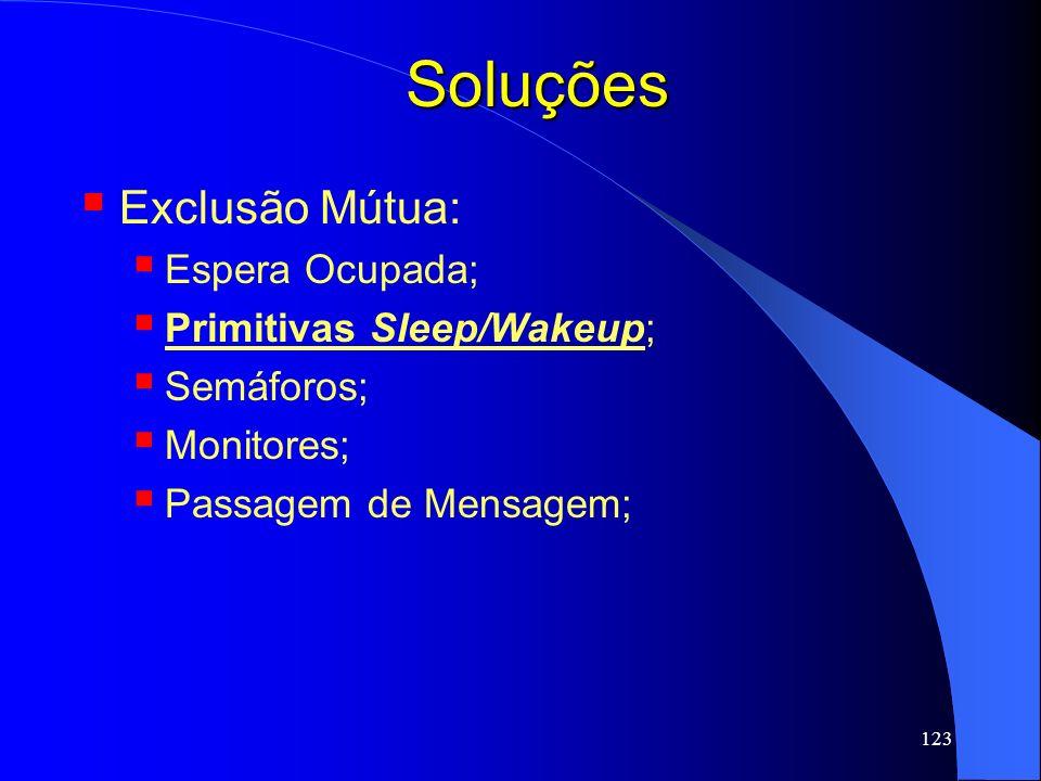 Soluções Exclusão Mútua: Espera Ocupada; Primitivas Sleep/Wakeup;