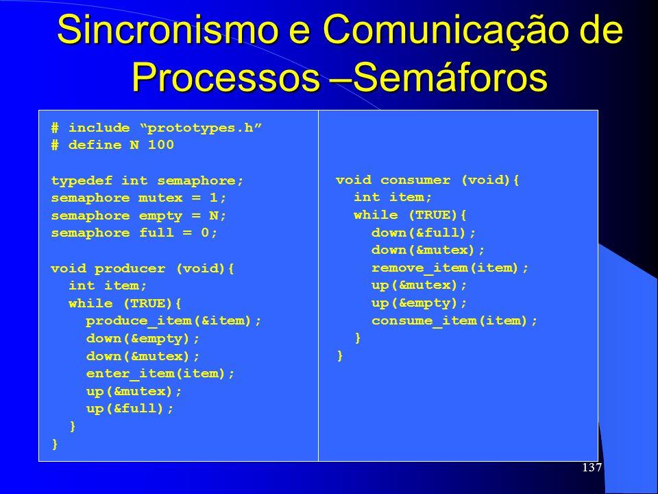 Sincronismo e Comunicação de Processos –Semáforos