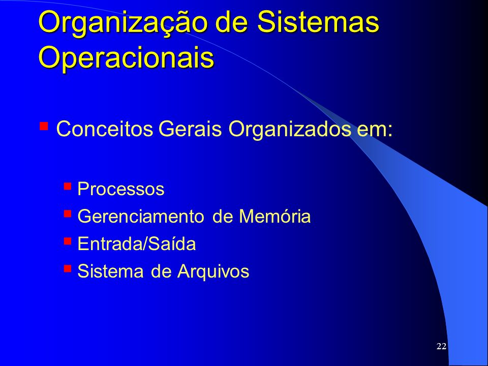Organização de Sistemas Operacionais