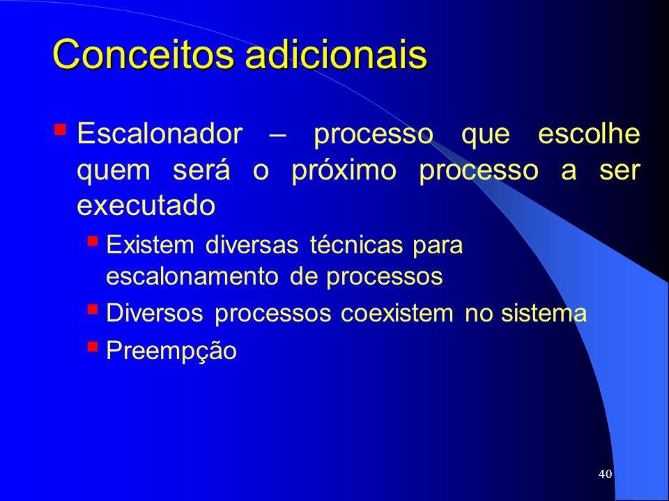 Conceitos adicionais Escalonador – processo que escolhe quem será o próximo processo a ser executado.