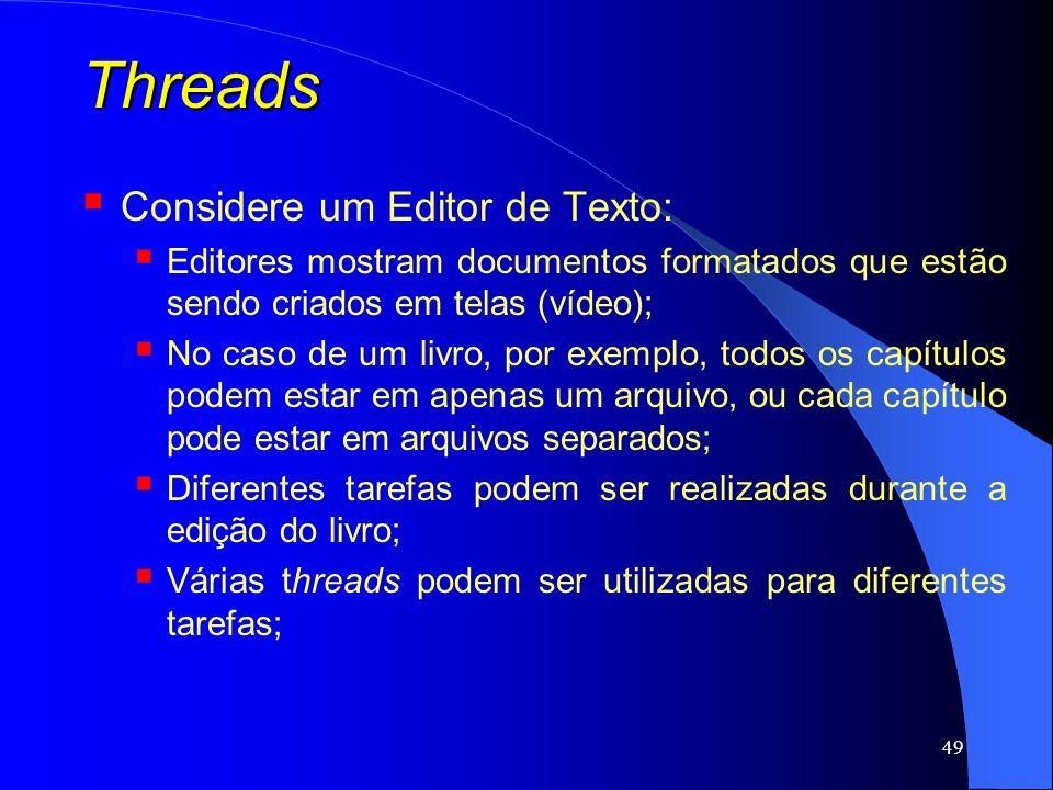 Threads Considere um Editor de Texto: