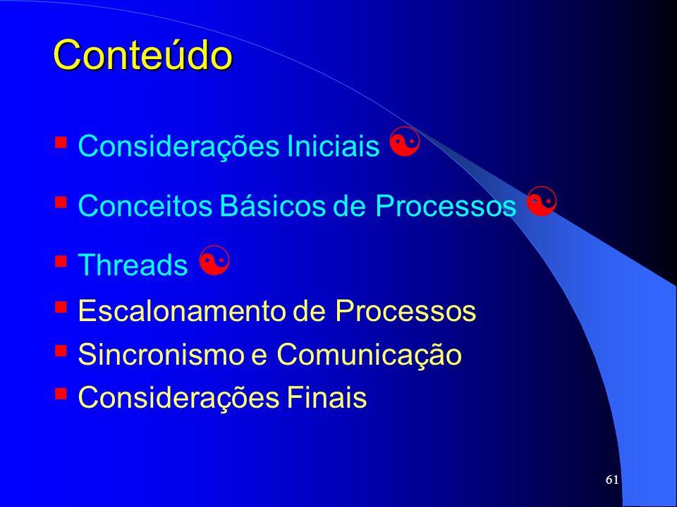Conteúdo Considerações Iniciais  Conceitos Básicos de Processos 