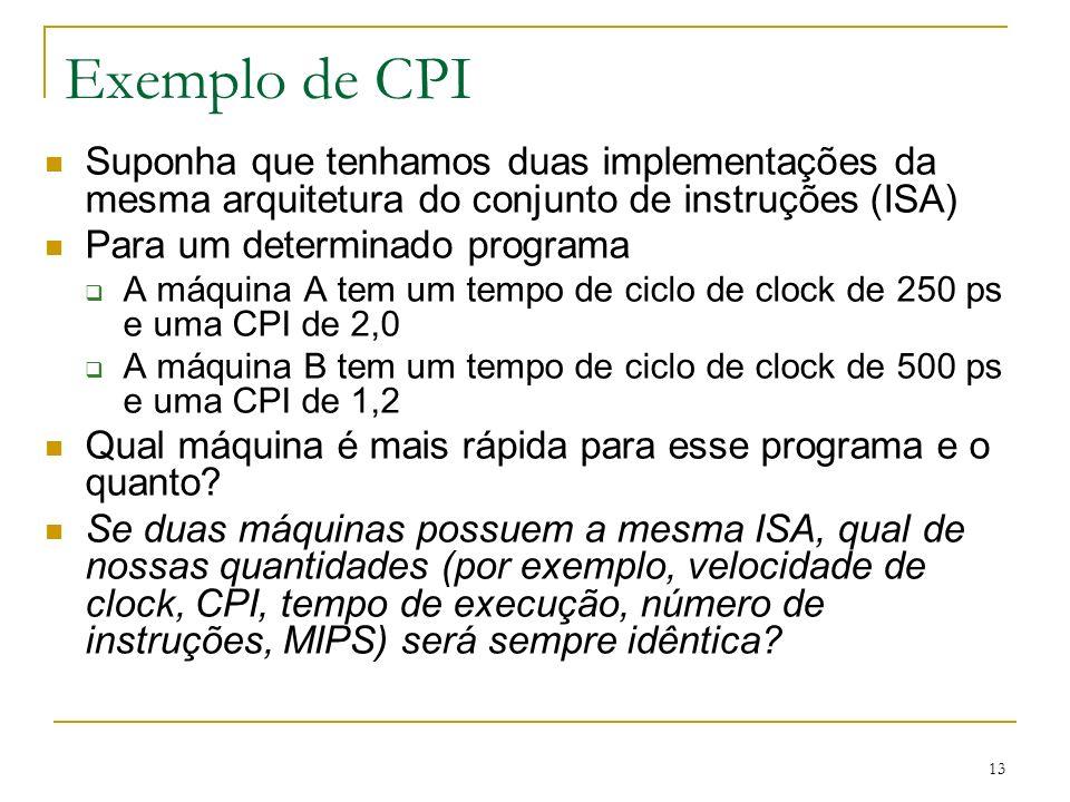 Exemplo de CPI Suponha que tenhamos duas implementações da mesma arquitetura do conjunto de instruções (ISA)