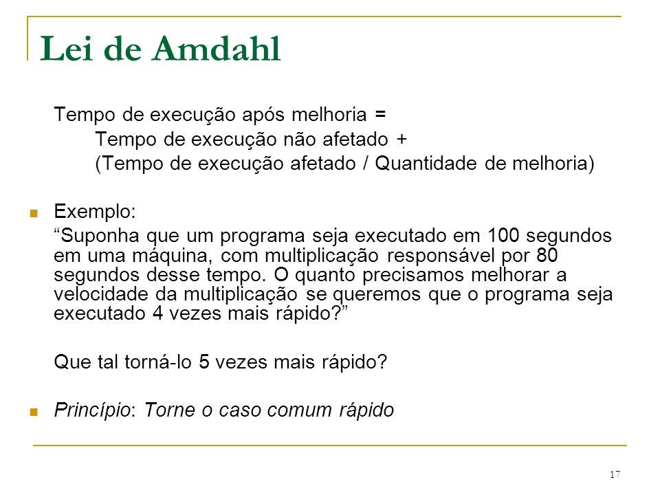 Lei de Amdahl Tempo de execução após melhoria =