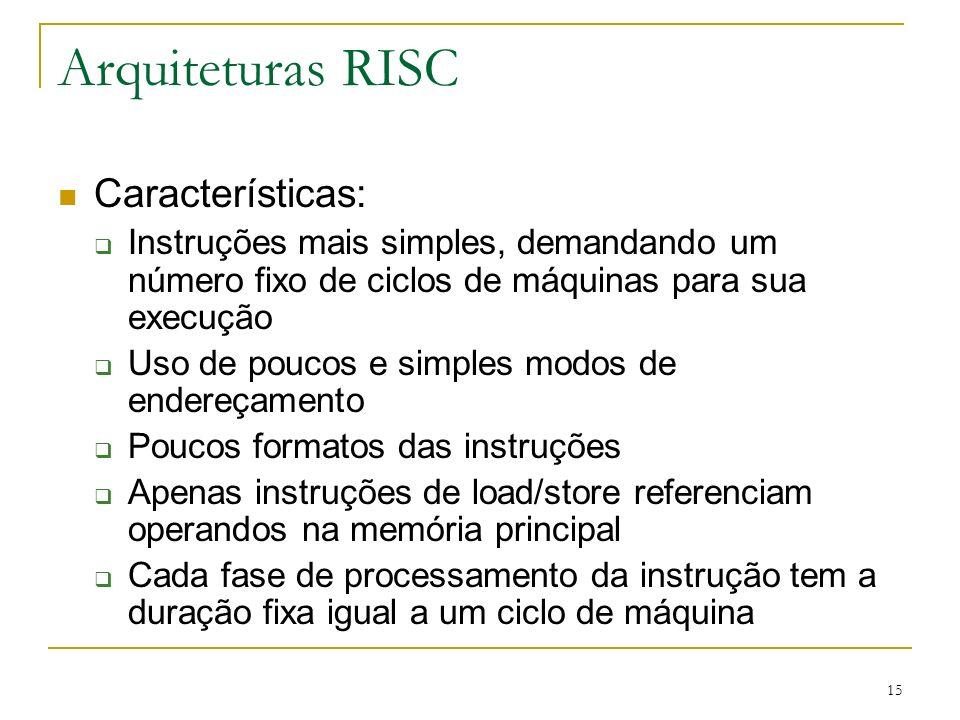 Arquiteturas RISC Características: