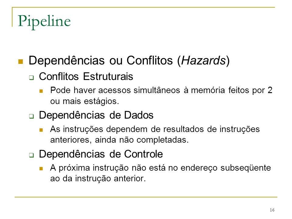 Pipeline Dependências ou Conflitos (Hazards) Conflitos Estruturais