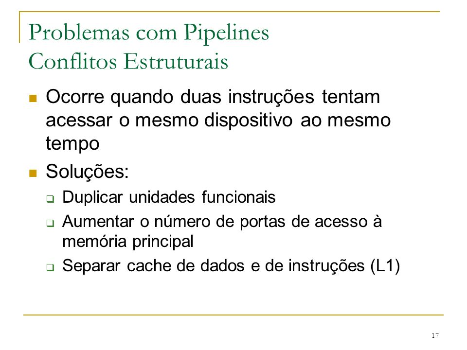 Problemas com Pipelines Conflitos Estruturais