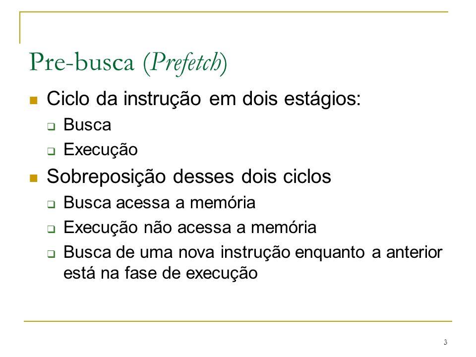 Pre-busca (Prefetch) Ciclo da instrução em dois estágios: