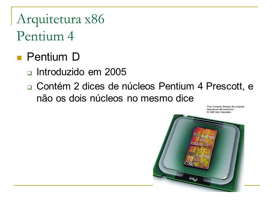 Arquitetura x86 Pentium 4 Pentium D Introduzido em 2005