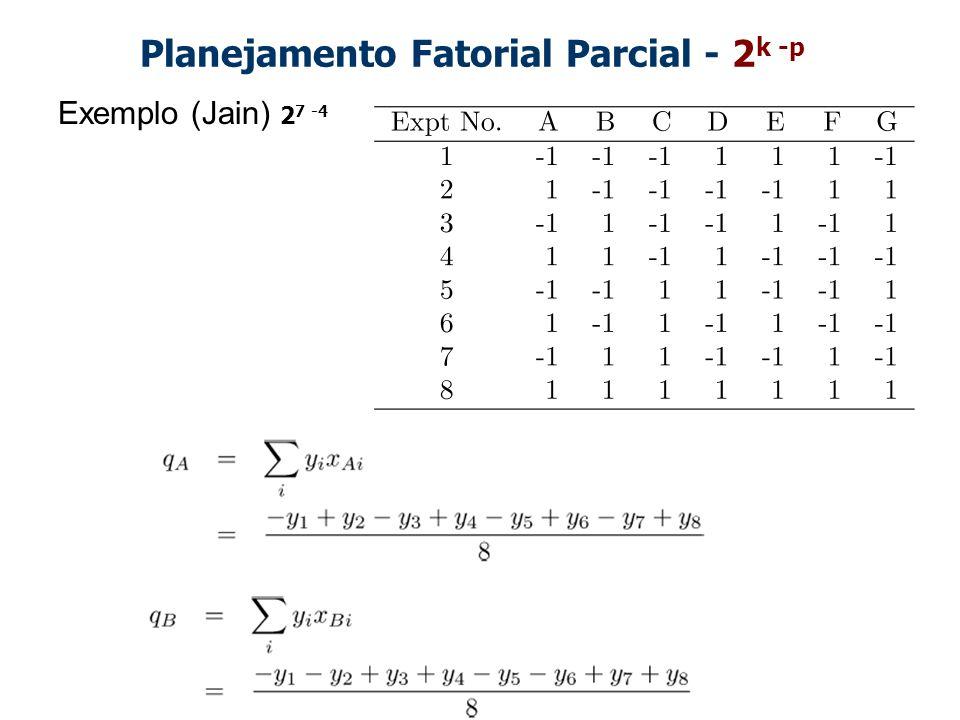 Planejamento Fatorial Parcial - 2k -p