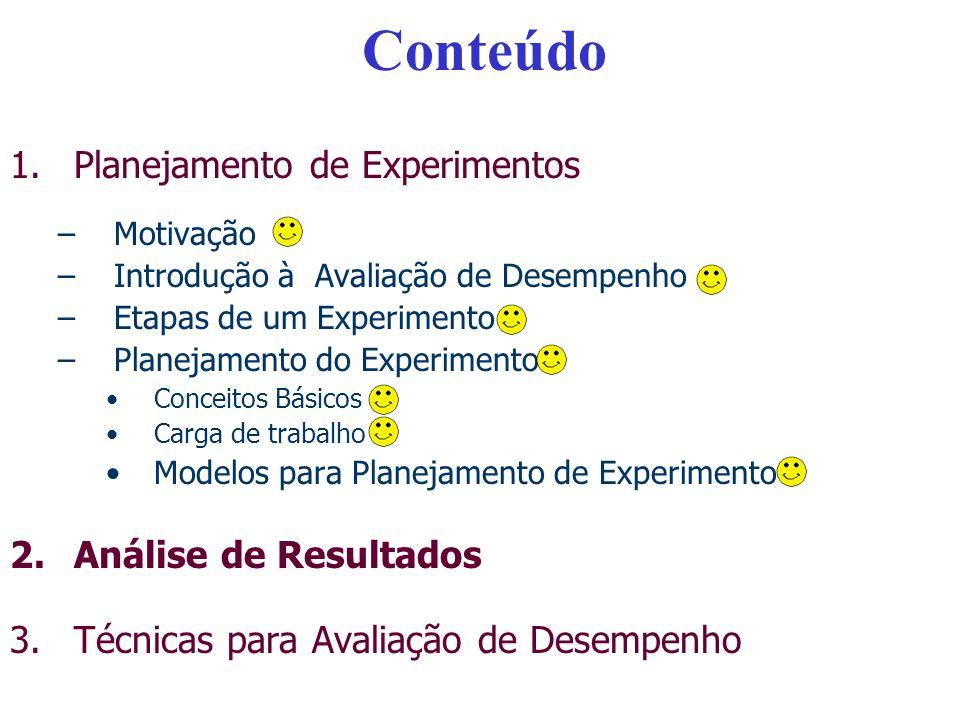 Conteúdo Planejamento de Experimentos Análise de Resultados