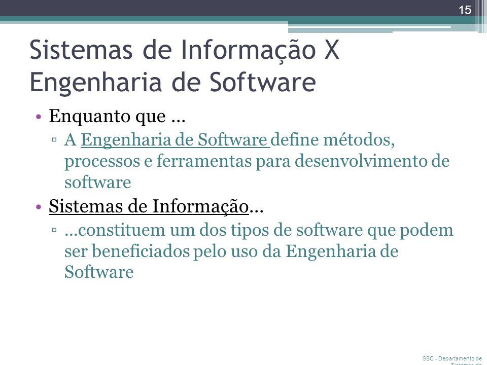 Sistemas de Informação X Engenharia de Software