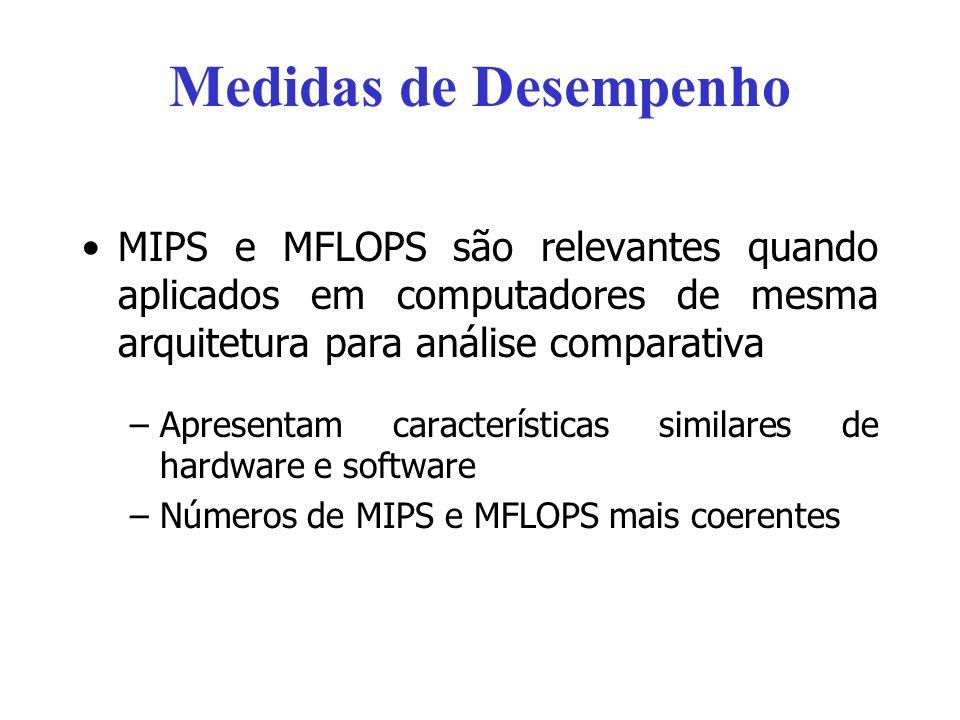 Medidas de DesempenhoMIPS e MFLOPS são relevantes quando aplicados em computadores de mesma arquitetura para análise comparativa.
