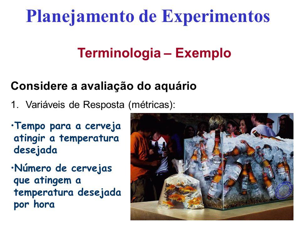 Planejamento de Experimentos Terminologia – Exemplo