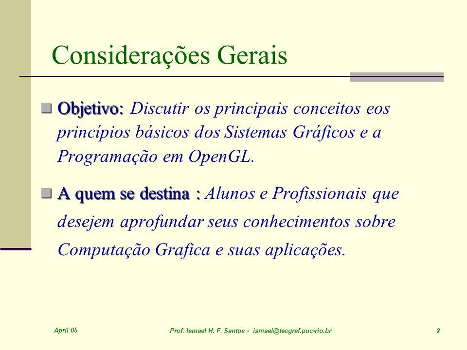 Considerações Gerais Objetivo: Discutir os principais conceitos eos princípios básicos dos Sistemas Gráficos e a Programação em OpenGL.